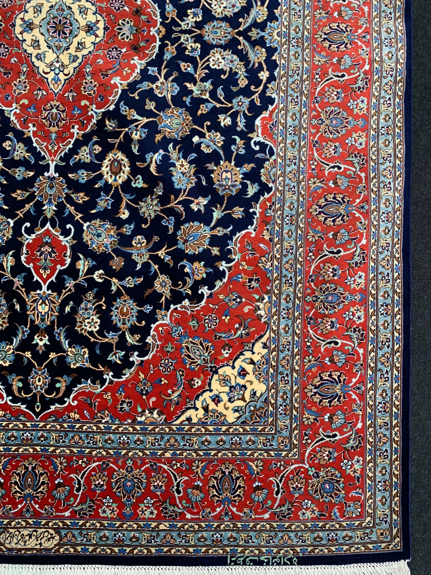 AK0250 カシャン 手織り ペルシャ絨毯 103×152 シルク