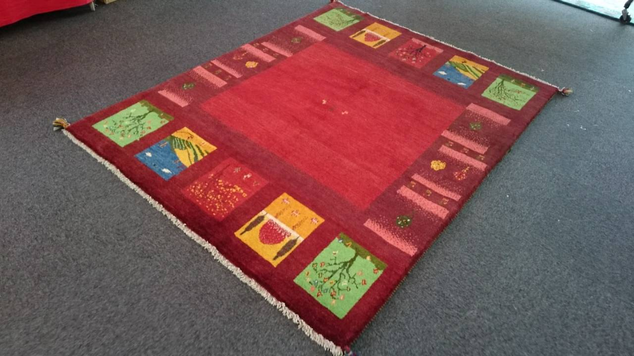 GA7864 ギャッベ 手織り ペルシャ絨毯 152×196