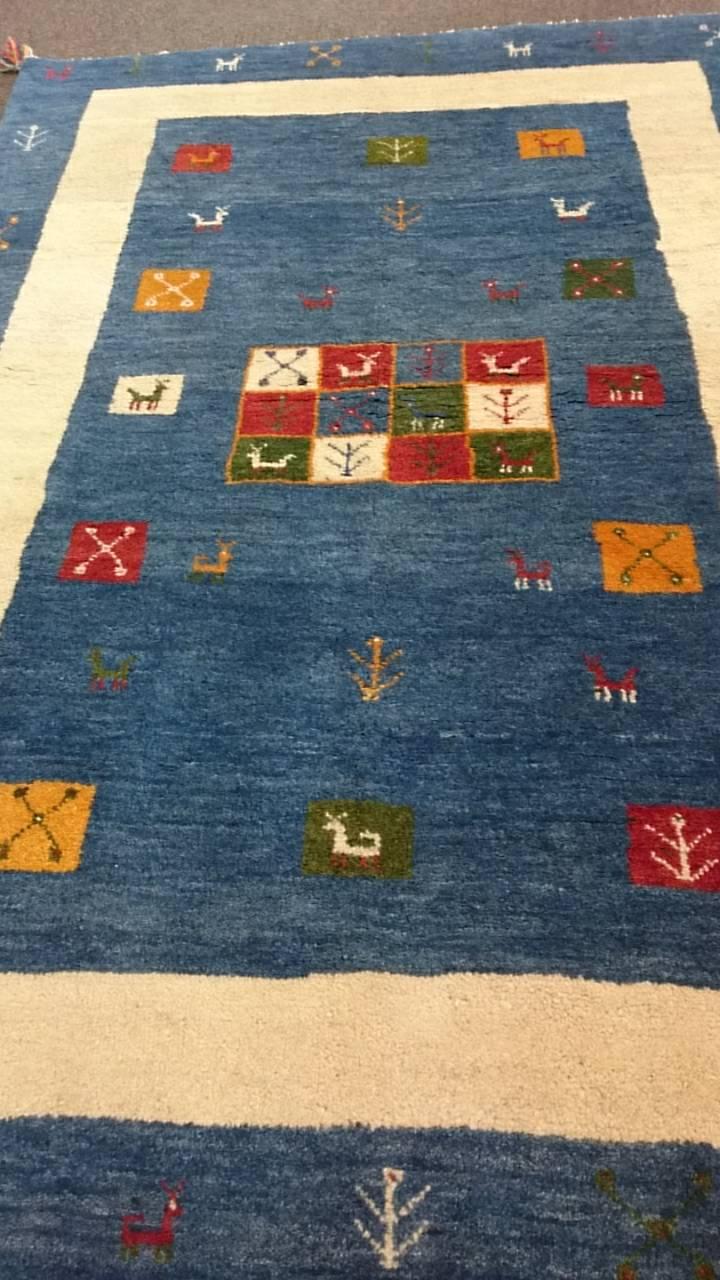 GA7867 ギャッベ 手織りペルシャ絨毯 150×211