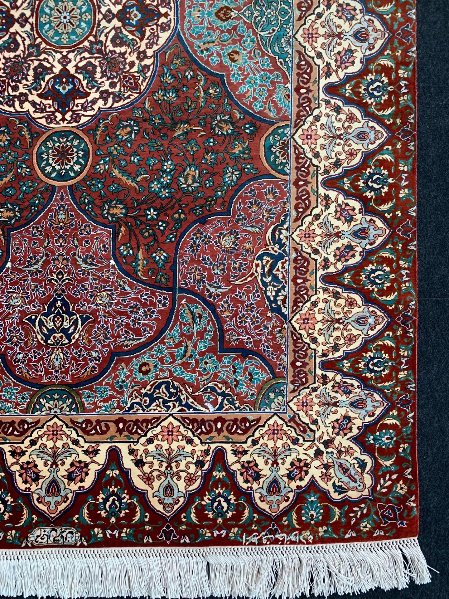 QM7390 クム 手織り ペルシャ絨毯 103×151
