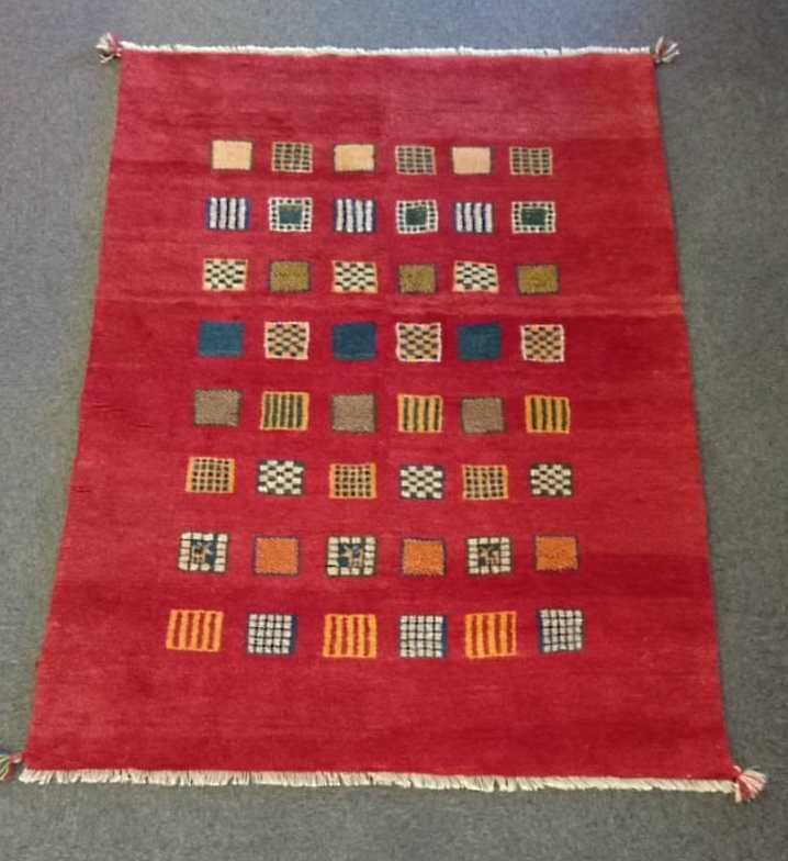 GA7856 ギャベ 手織り ペルシャ絨毯 143×192 約20mm