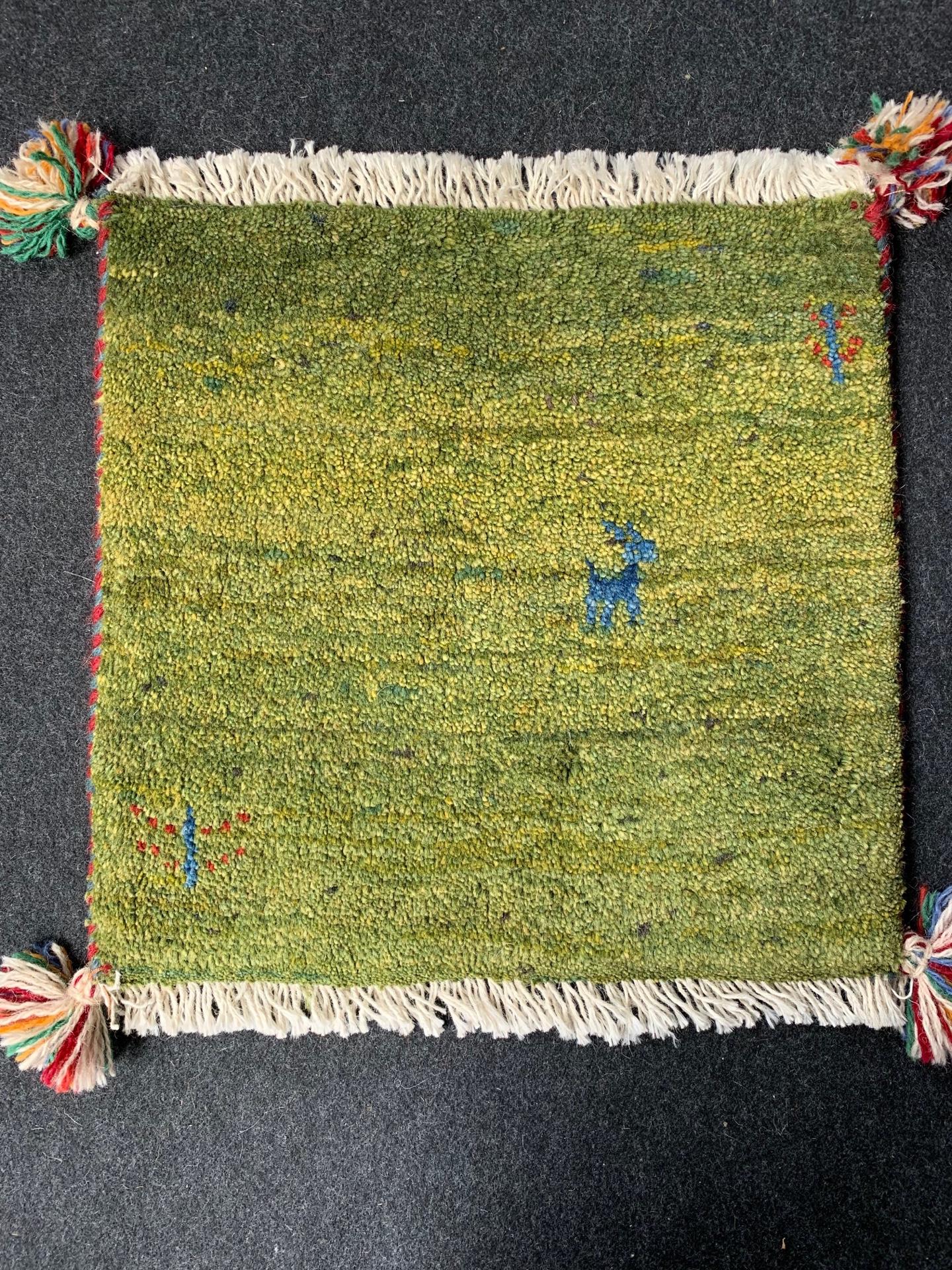 GA7991 ギャベ 手織り ペルシャ絨毯 38×40