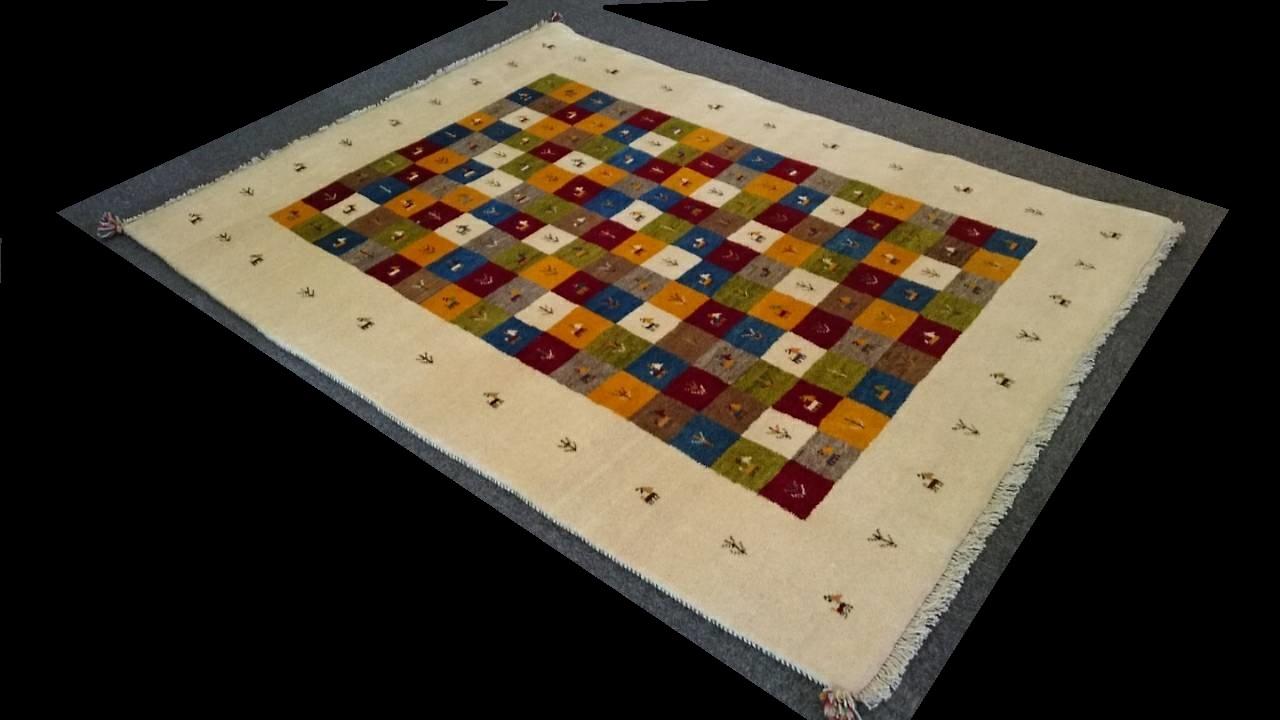 GA8044 ギャベ 手織り ペルシャ絨毯 162×210