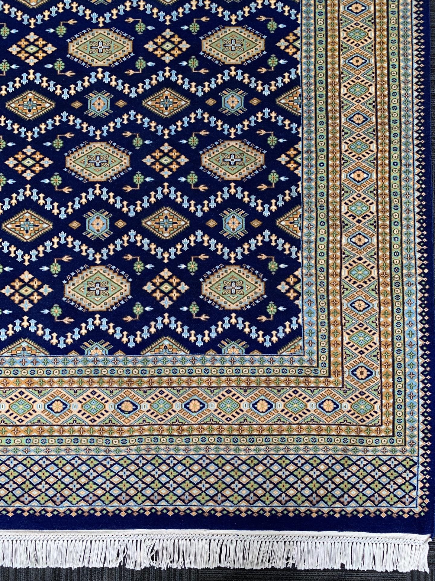 JA7597 パキスタン 手織り 209×260 R-BLUE