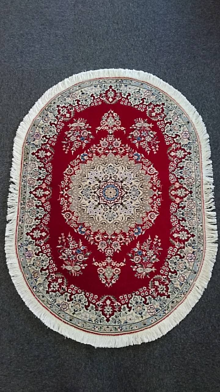 NS3405 ナイン 手織り ペルシャ絨毯 99×140 RED