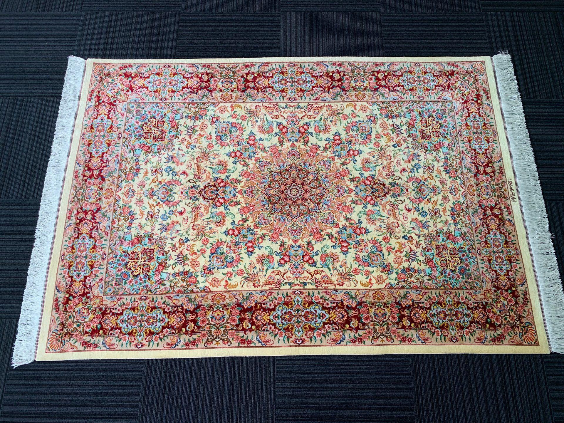QM11098 クム 手織り ペルシャ絨毯 137×196