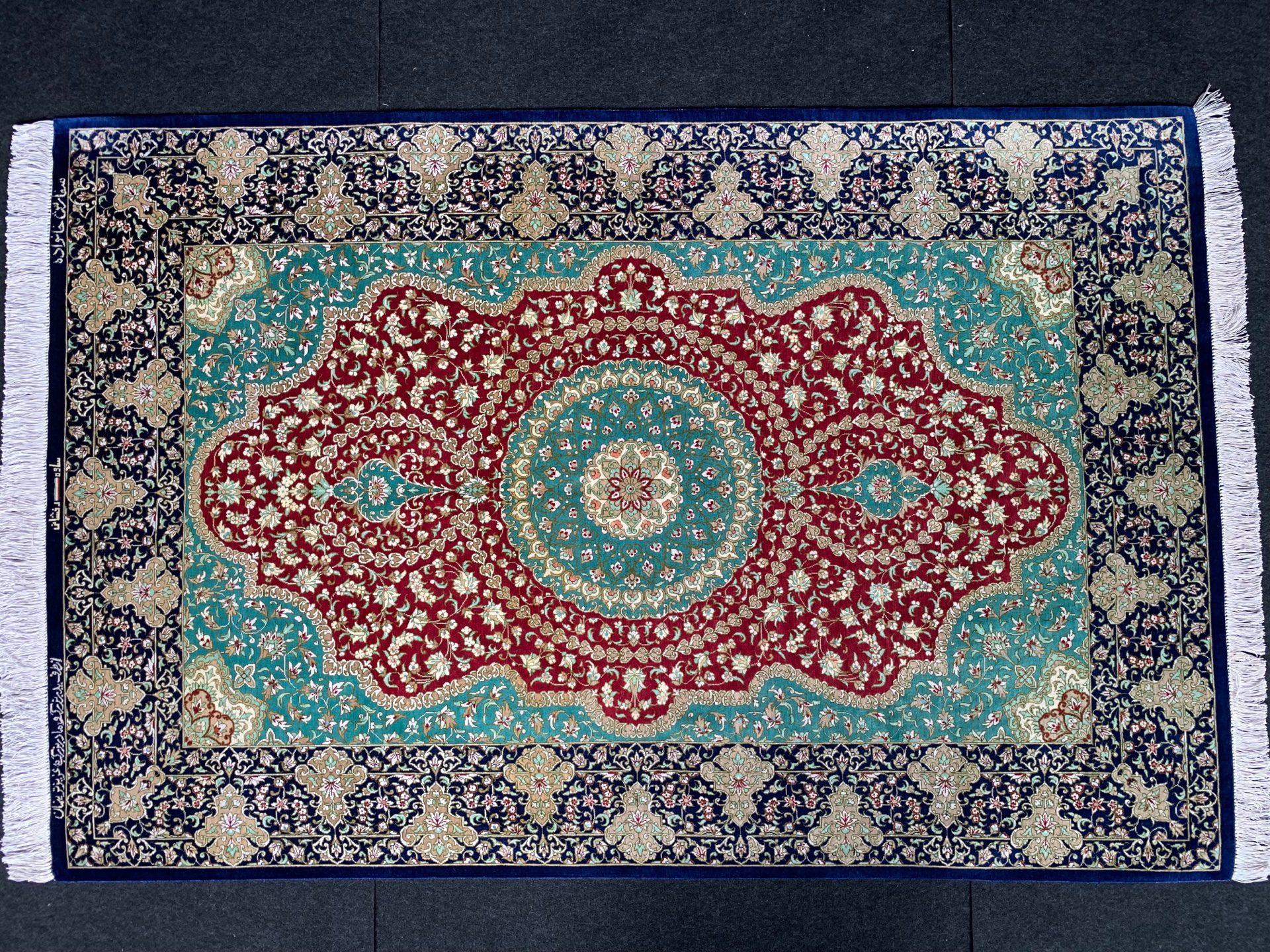 QM11144 クム 手織り ペルシャ絨毯 シルク 99×151