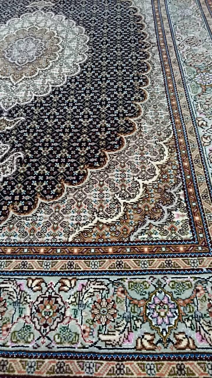 TS4762 タブリーズ 手織り ペルシャ絨毯 154×213 NAVYBLUE