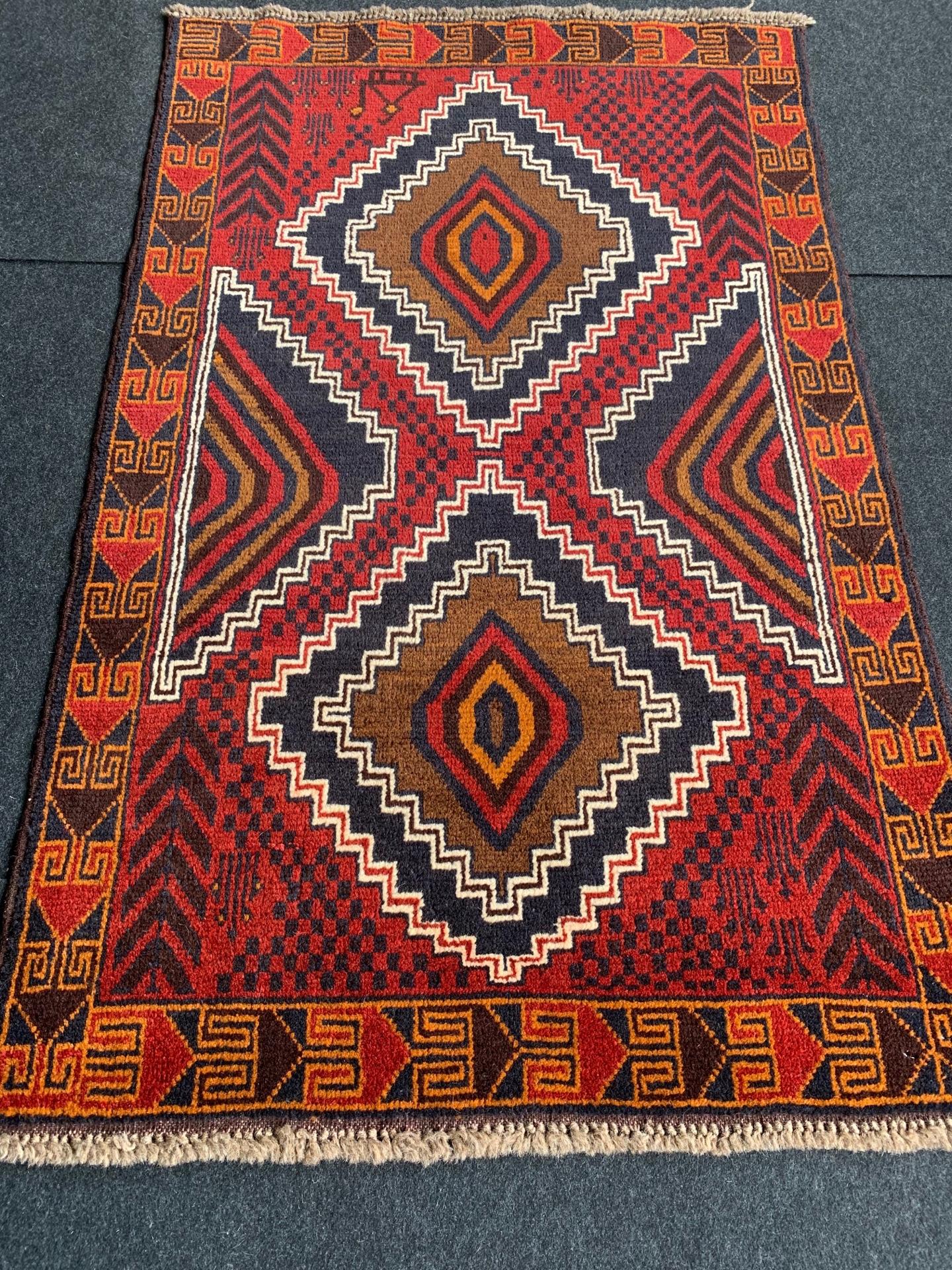 BC0825 アフガニスタン 手織り 87×137