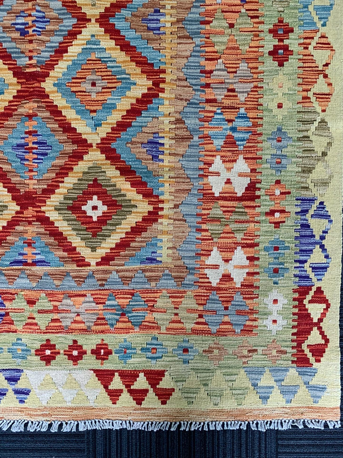 KI0327 アフガンキリム 手織り 152×194