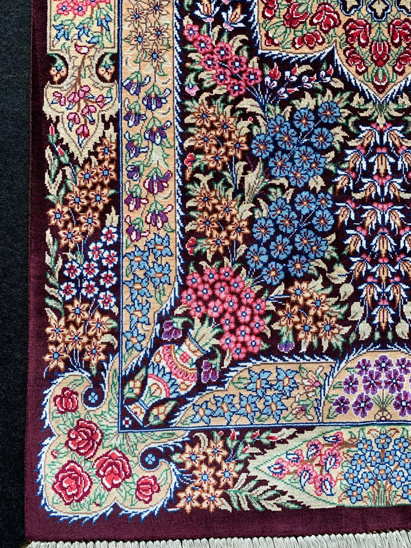QM11112 クム 手織り 60×90 シルク ペルシャ絨毯